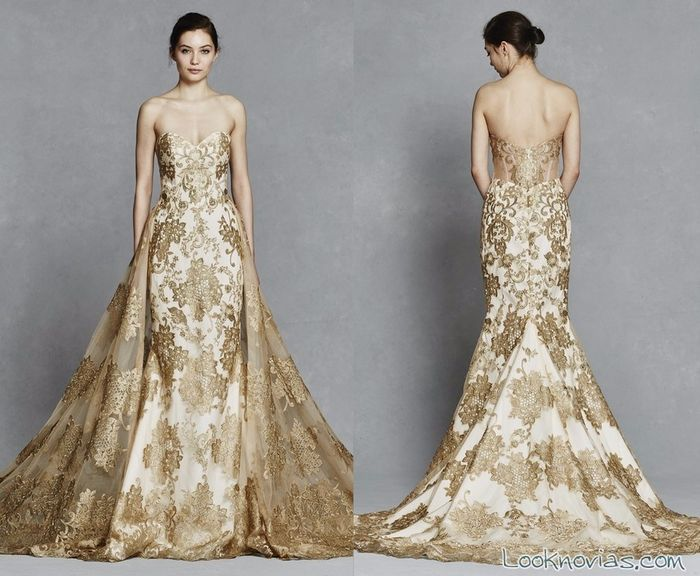 Vestidos de novia con detalles dorados