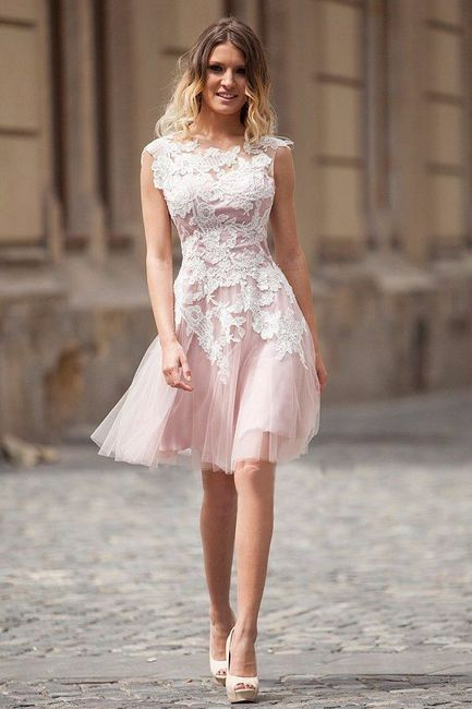 Vestido de novia civil rosa